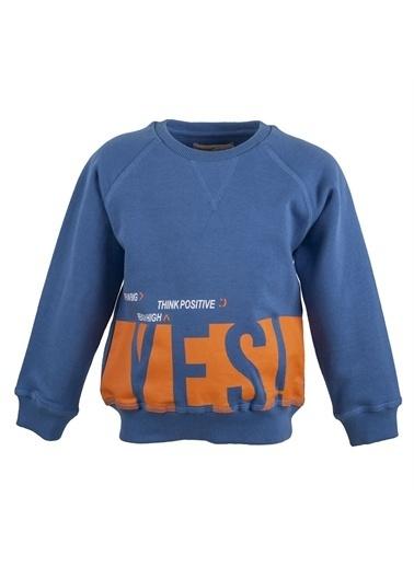 Silversun Kids Baskılı Bisiklet Yaka Uzun Kol Erkek Çocuk Tişört Js 214811 Mavi